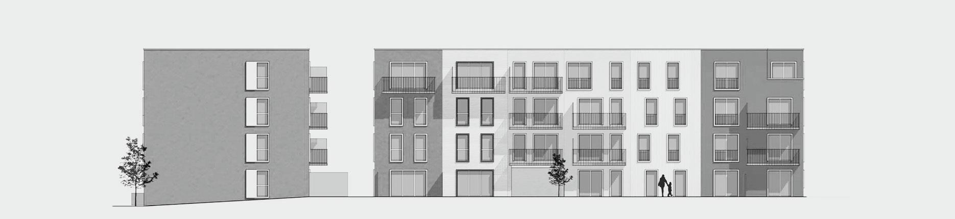 Architekturzeichnung - Diese Zeichnung zeigt ein Bauprojekt für Kapitalanleger in Hamburg Jenfeld.