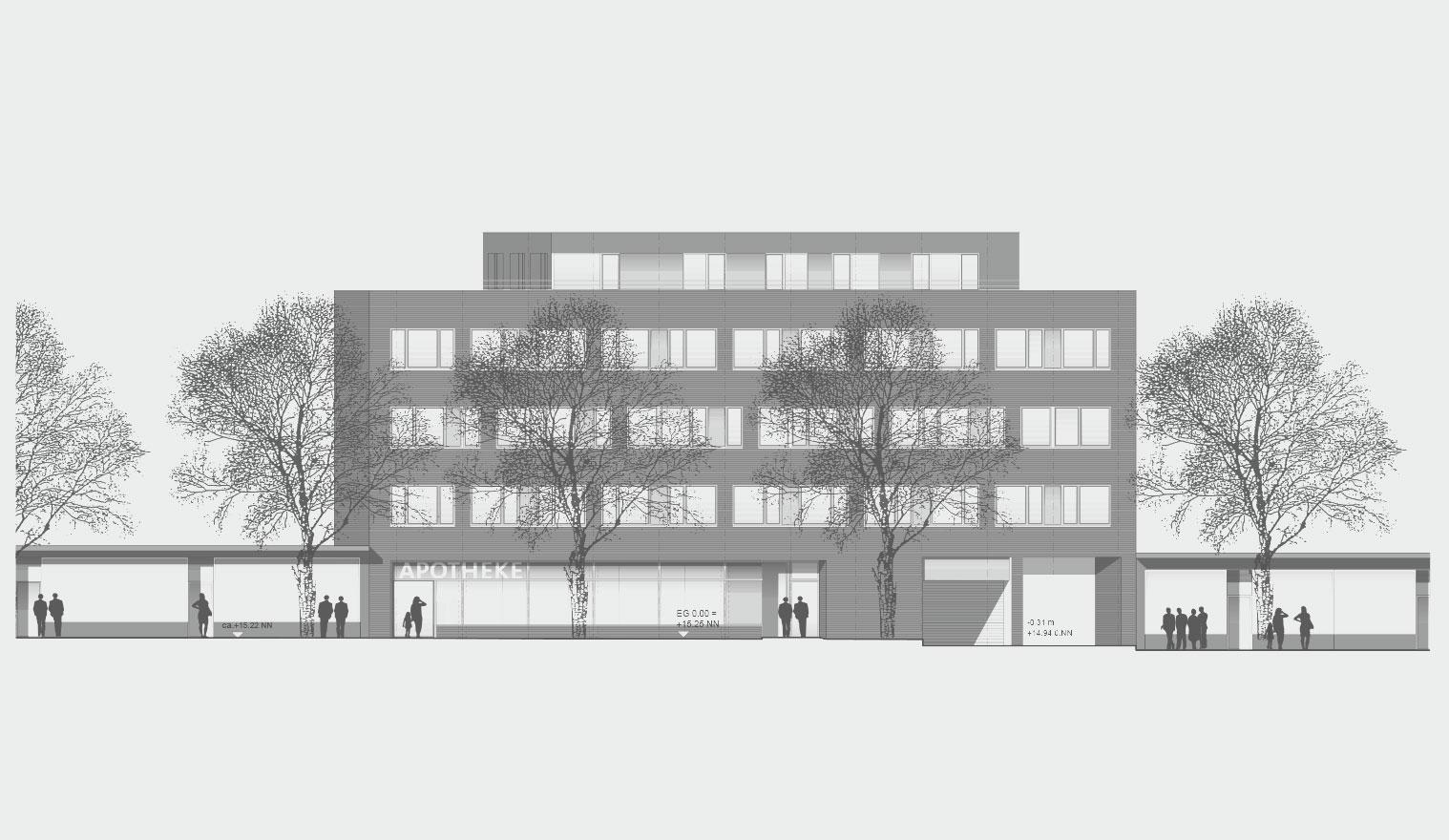 Architekturzeichnung - Diese Zeichnung zeigt ein Bauprojekt für Kapitalanleger in Hamburg – Carl-Petersen-Strasse