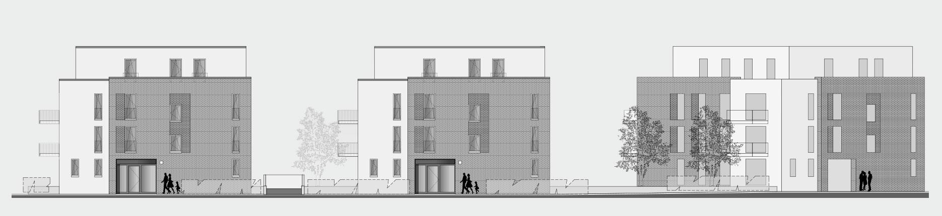 Architekturzeichnung - Diese Zeichnung zeigt ein Bauprojekt für Kapitalanleger in Hamburg Farmsen-Berne