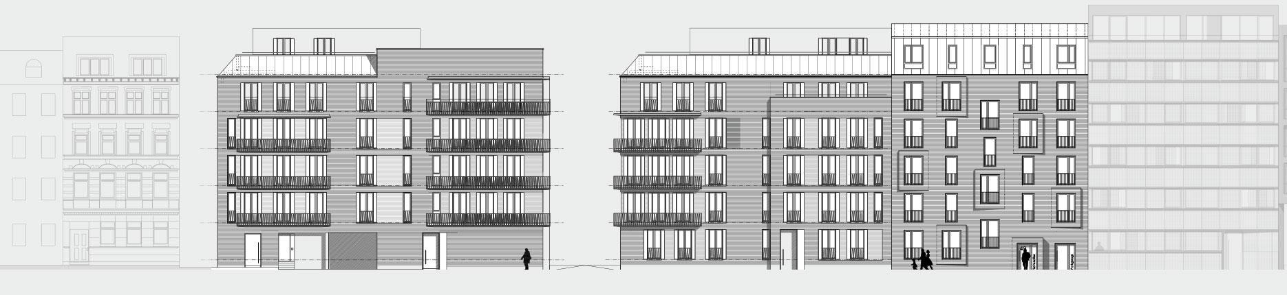 Architekturzeichnung - Diese Zeichnung zeigt ein Bauprojekt für Kapitalanleger in Hamburg Ottensen.
