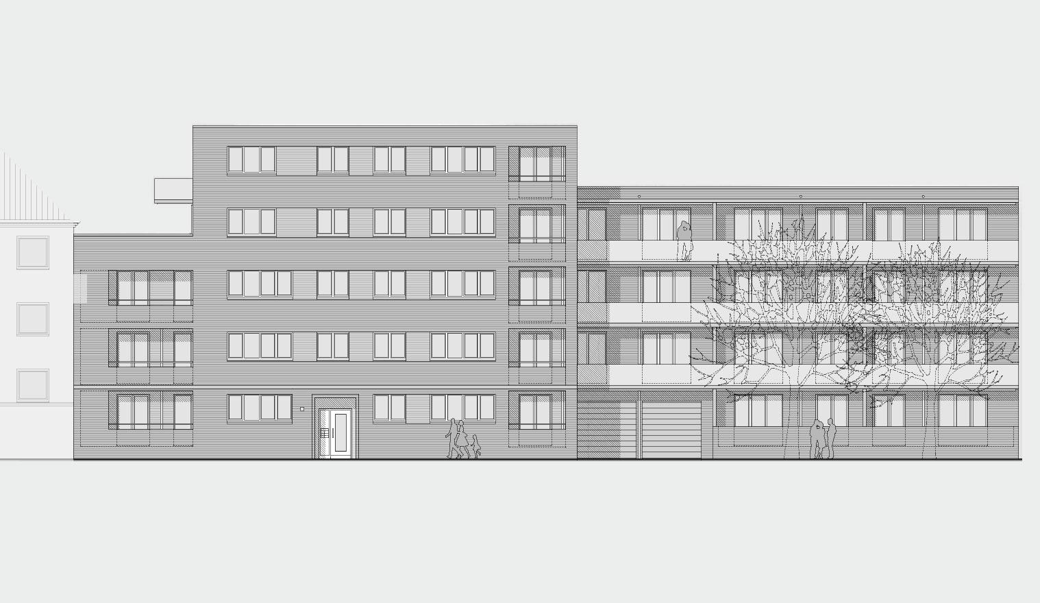 Architekturzeichnung - Diese Zeichnung zeigt ein Bauprojekt für Kapitalanleger in Hamburg Altona - Kühnehöfe
