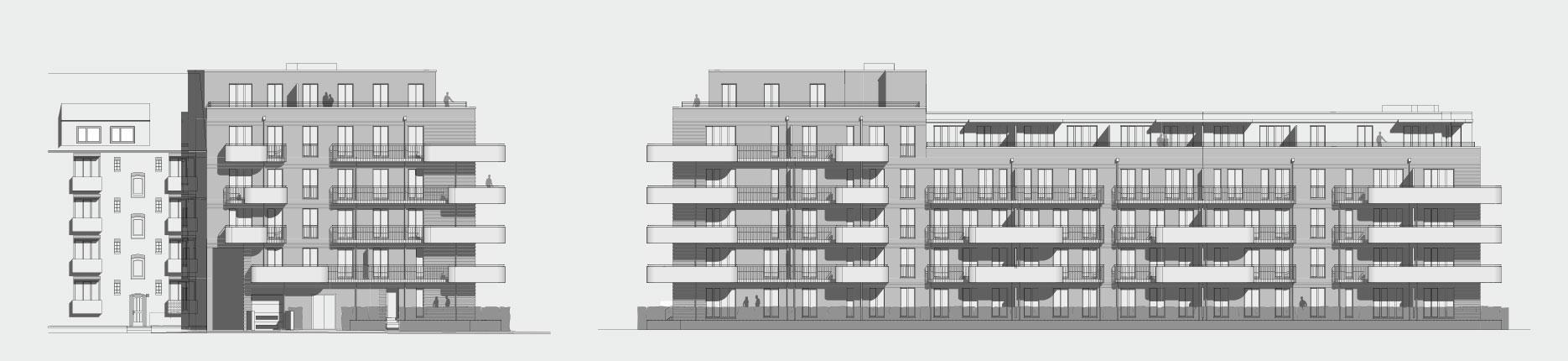 Architekturzeichnung - Diese Zeichnung zeigt ein Bauprojekt für Kapitalanleger in Hamburg Barmbek.