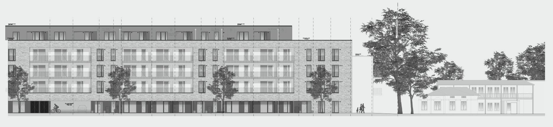 Architekturzeichnung - Diese Zeichnung zeigt ein Bauprojekt für Kapitalanleger in Ahrensburg.
