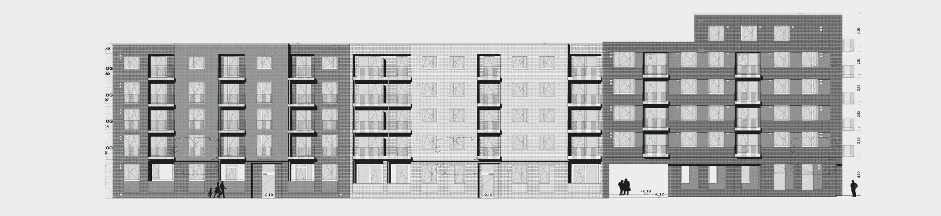 Architekturzeichnung - Diese Zeichnung zeigt ein Bauprojekt für Kapitalanleger in der Mitte Altona in Hamburg.
